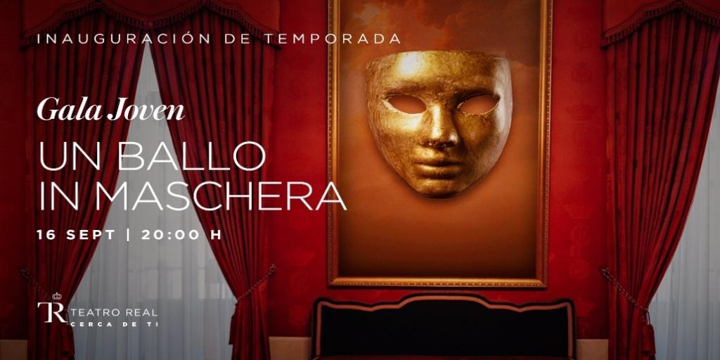 Cartel de 'Un ballo in maschera' (2020), obra representada en la primera Gala Jóven del Teatro Real.